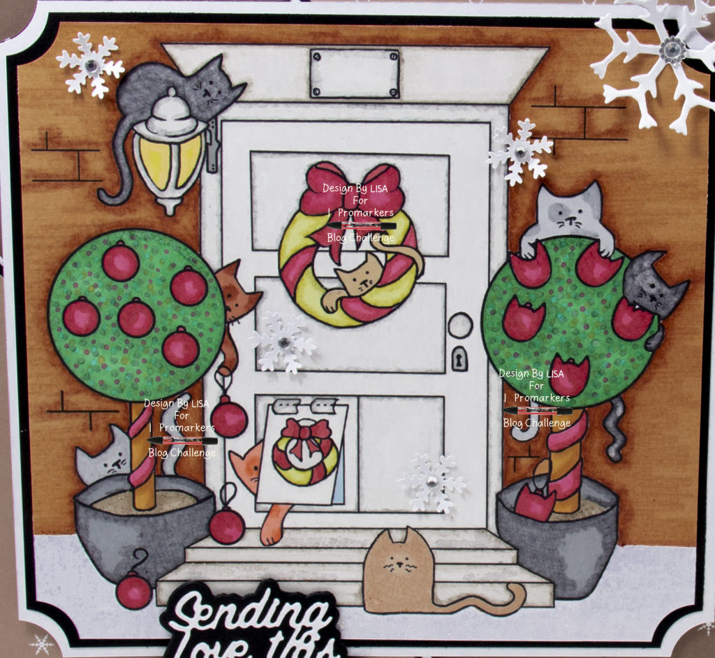 Handmade card using a digi image from Eekers Knitty Kitty called Christmas Cat Flap