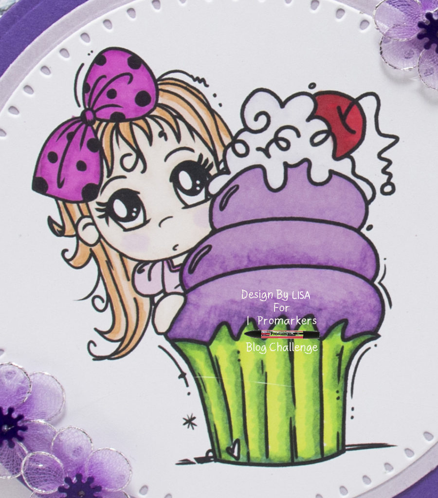 Handmade card using a digi image from Bugaboo Stamps called Chibi Cupcake Peeker