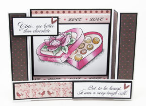 Handmade card using a digi image from Fred She Said called Valentine's Day - Better Than Chocolate.