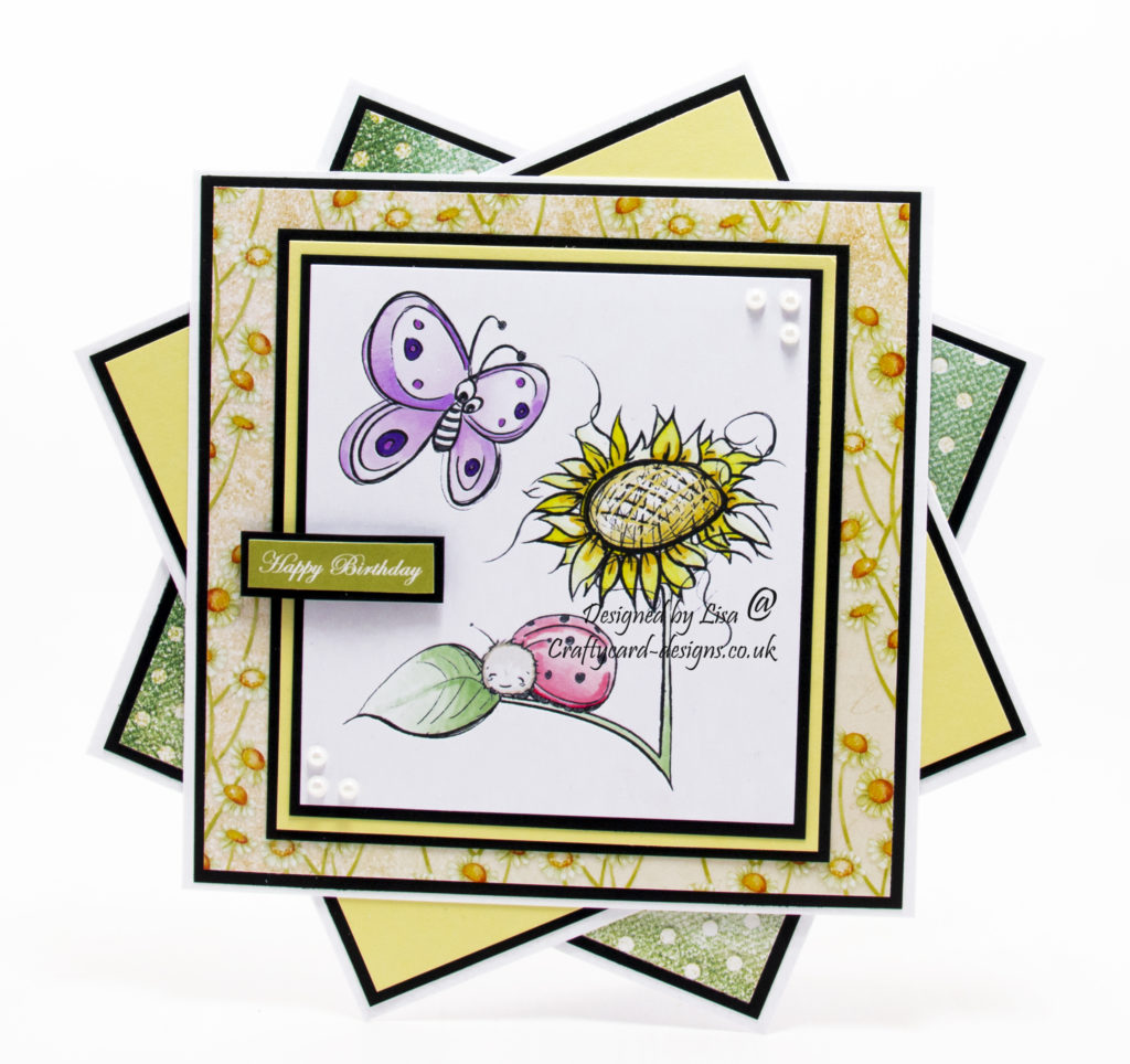 Handmade card using a digital stamp from Oddball Art Co. called Cute Whimsical Spring Garden - Lets Meet at the Sunflower