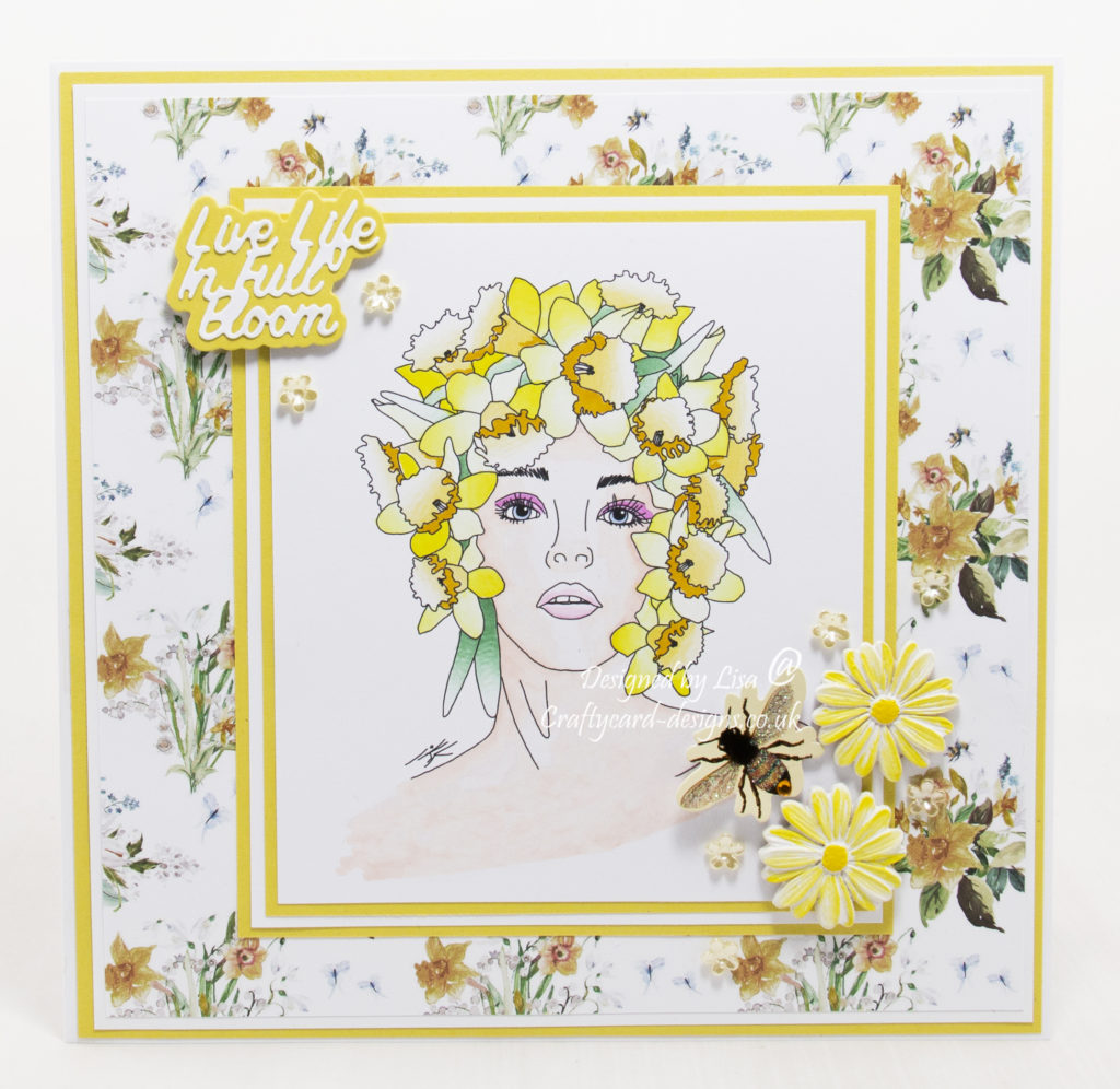 Handmade card using a digital stamp from Ike's Art called Daffodil Fairy.