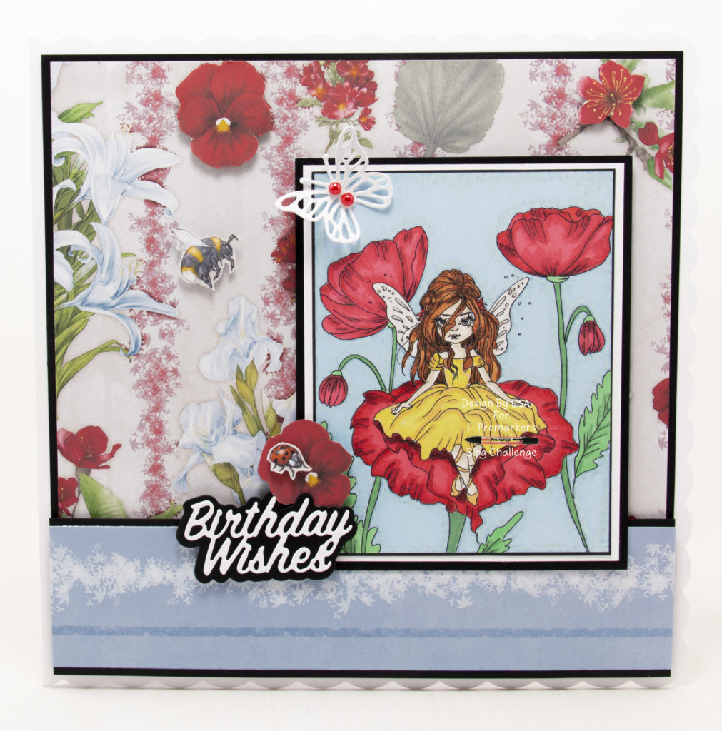 Handmade card using a digital image from Colour Of Love called Poppies.