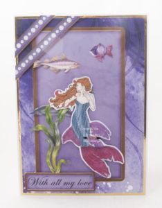 Handmade card using digital image called Mermaid 3