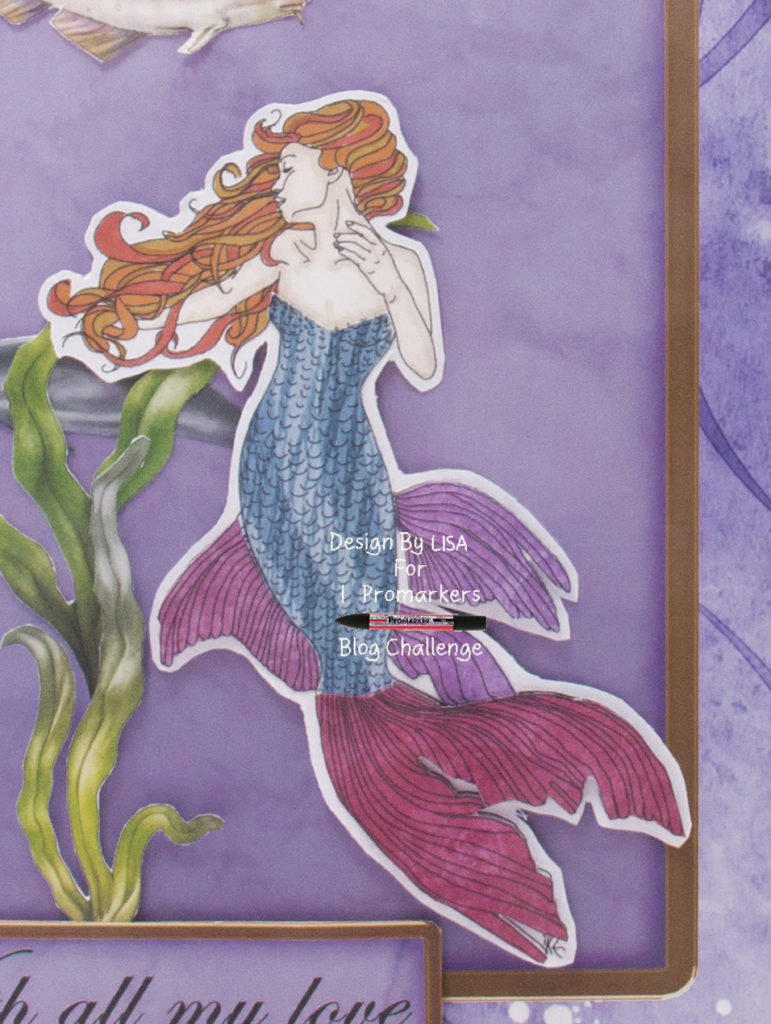 Handmade card using digital image called Mermaid 3