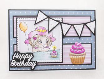 Handmade card using a digital images called Cupcake Birthday