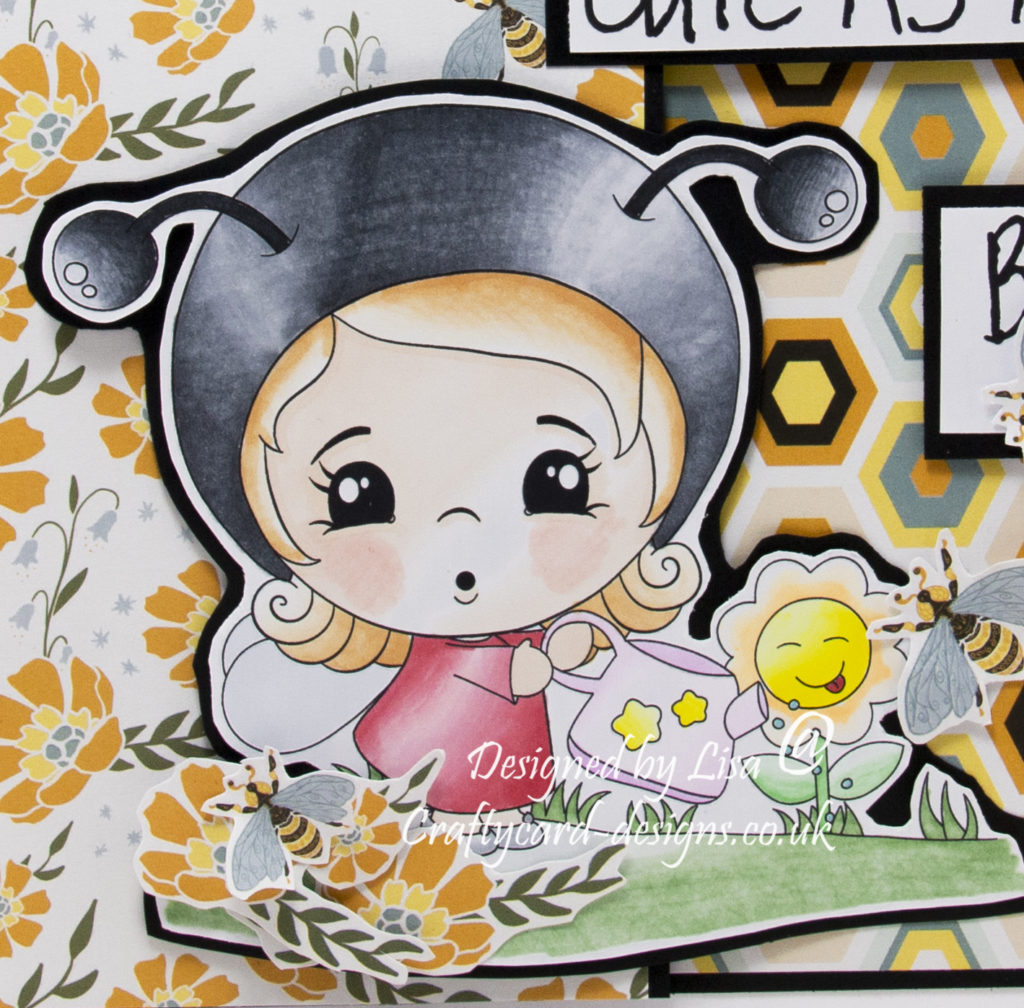 Handmade card using a digi image from Stampers Delight called Kawaii Cute As A Bug