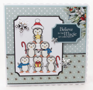 Handmade card using a digital image called Penguin Tree