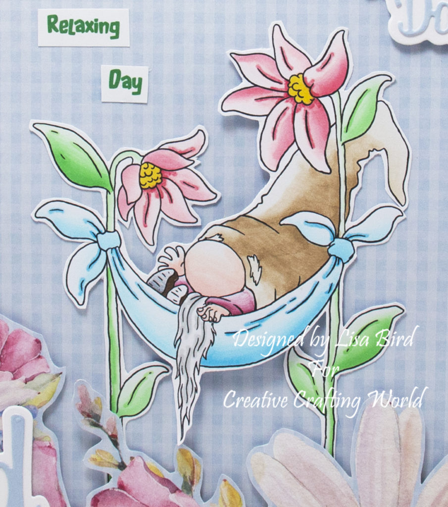 Handmade card using a digital image from Twistoon called Georges Hammock Gnome.