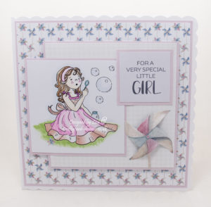 Handmade card using a digital image called Emma Blowing Bubbles