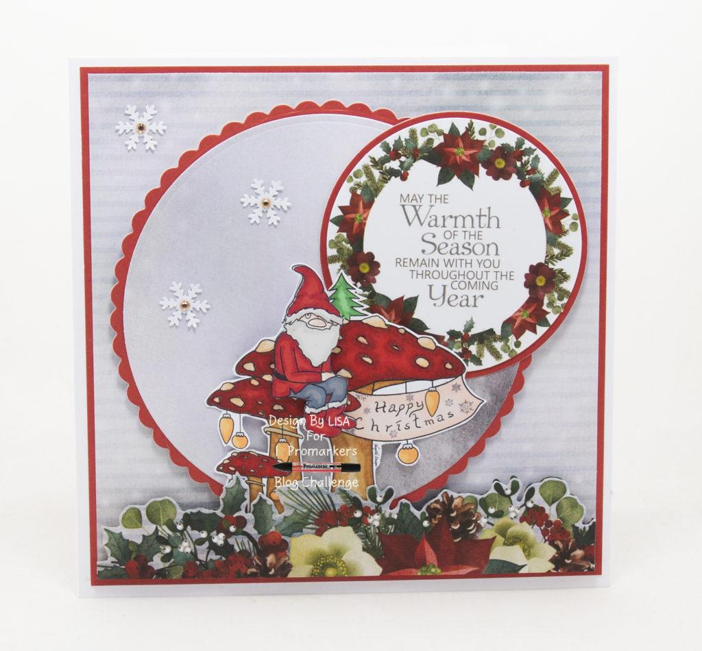 Handmade card using a digital image from SheepSki designs called Gnome For Christmas