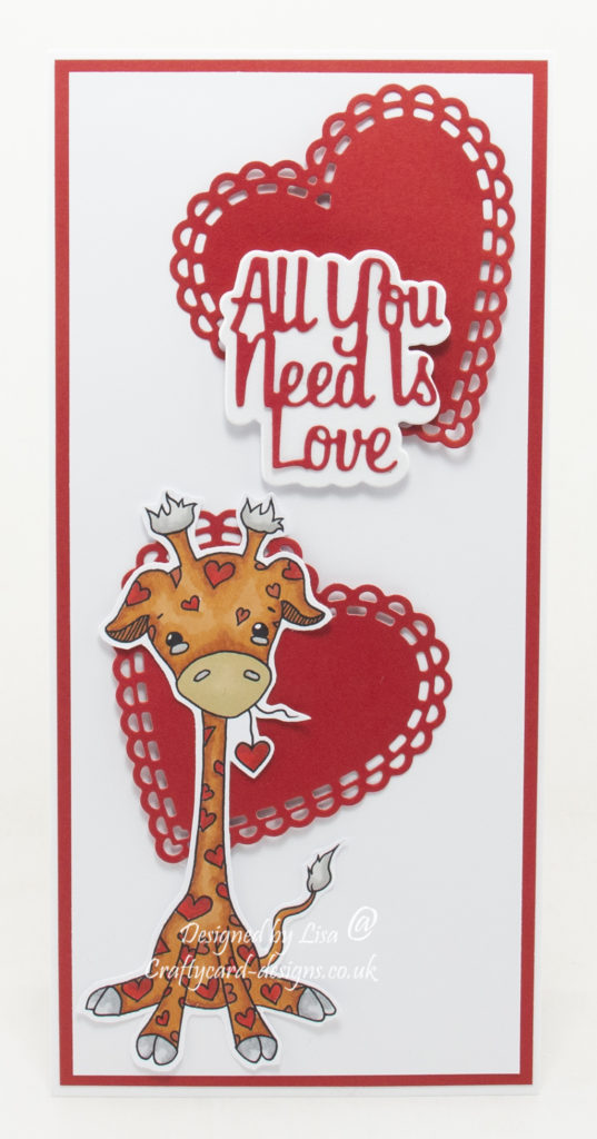 Handmade card using a digital images called Kawaii Valentine Giraffe.
