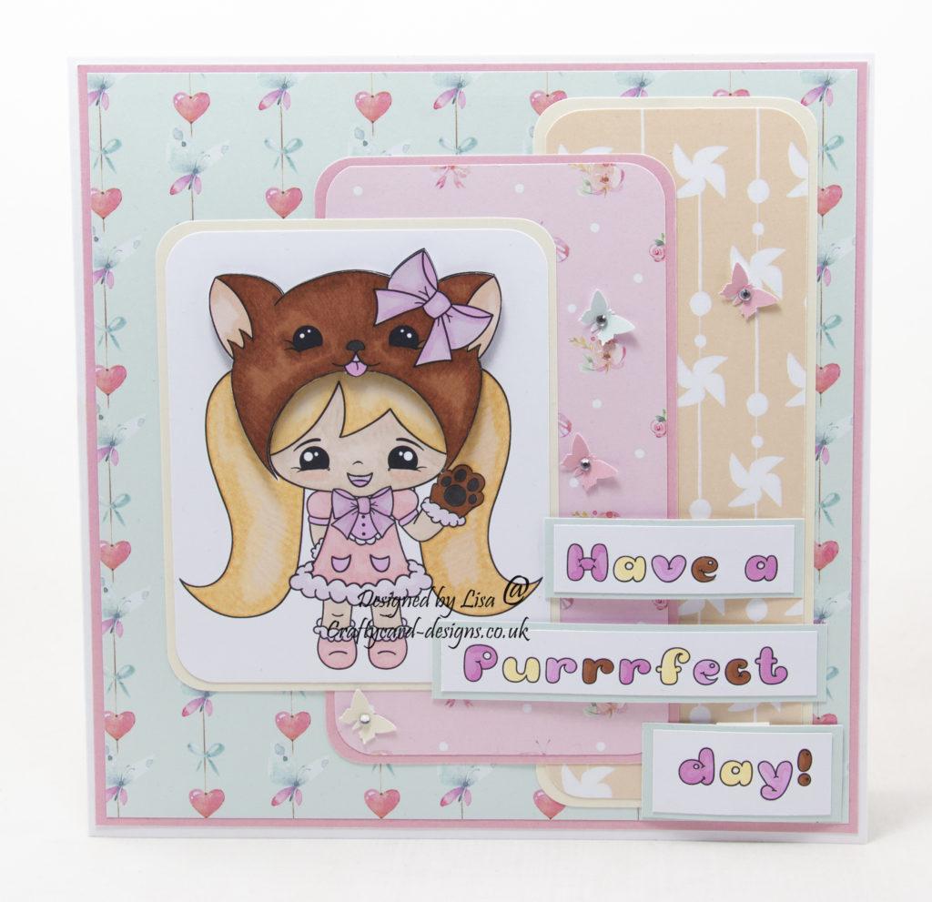 Handmade card using a digital image calledKawaii Miss Kitty