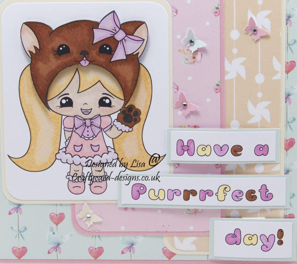 Handmade card using a digital image called Kawaii Miss Kitty