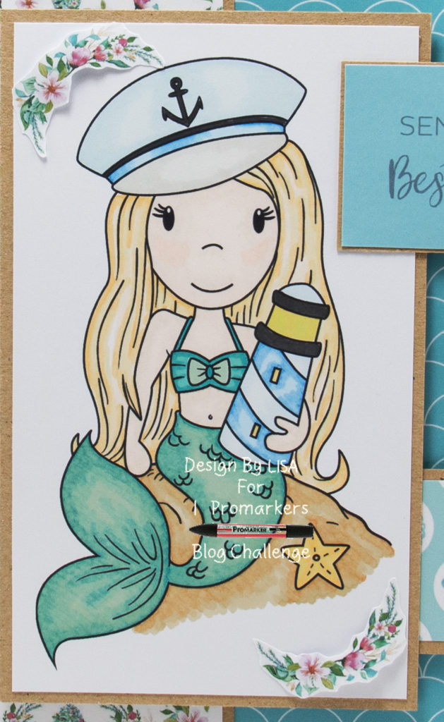Handmade card using a digital image called Nautical Mermaid Avery from the Paper Nest Dolls