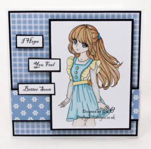 Handmade card using digital image from Stampers Delight called Anime Alice