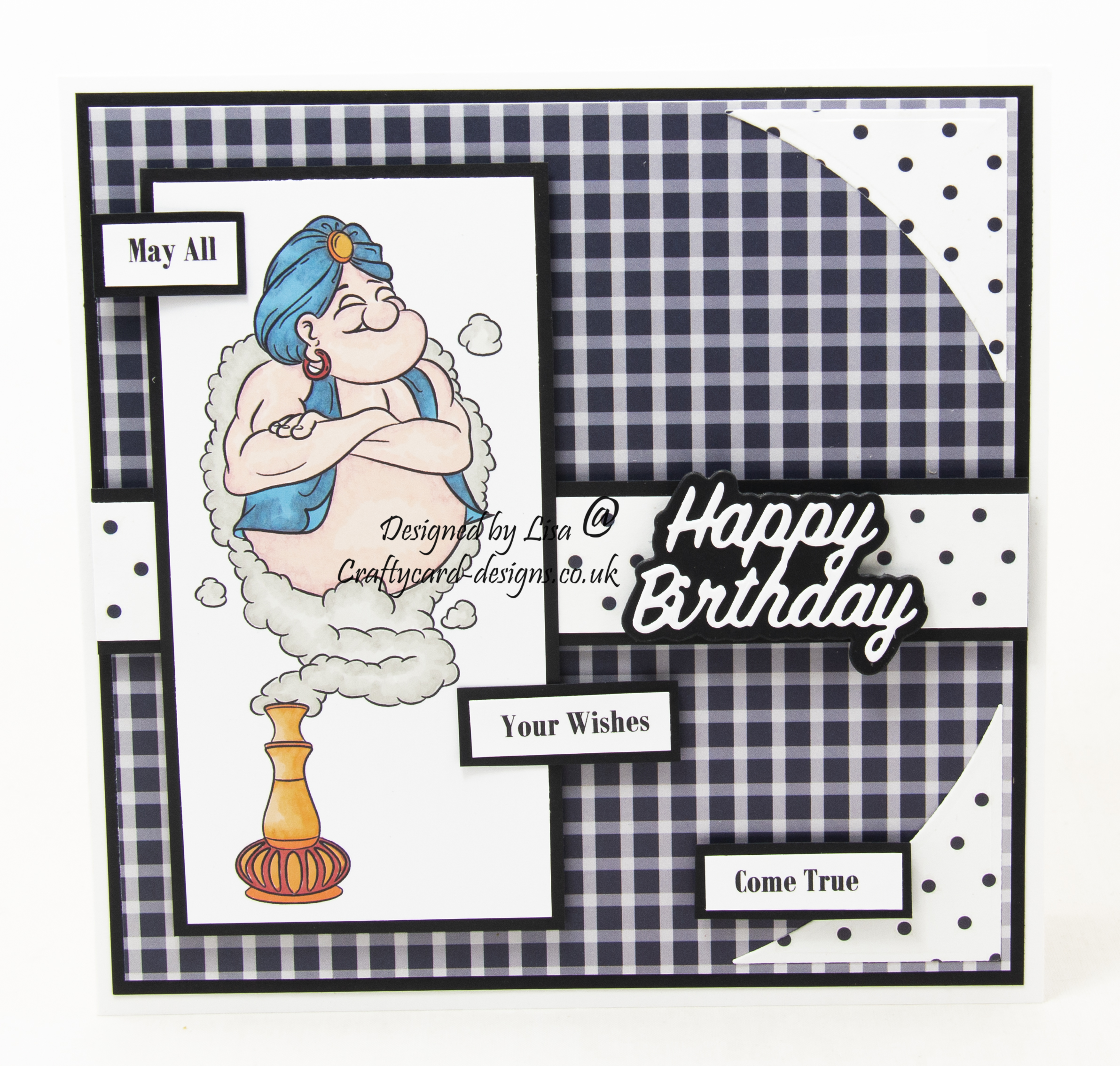 Handmade card using a digital image from Dr. Digi's House Of Stamps called I Dream If Genie