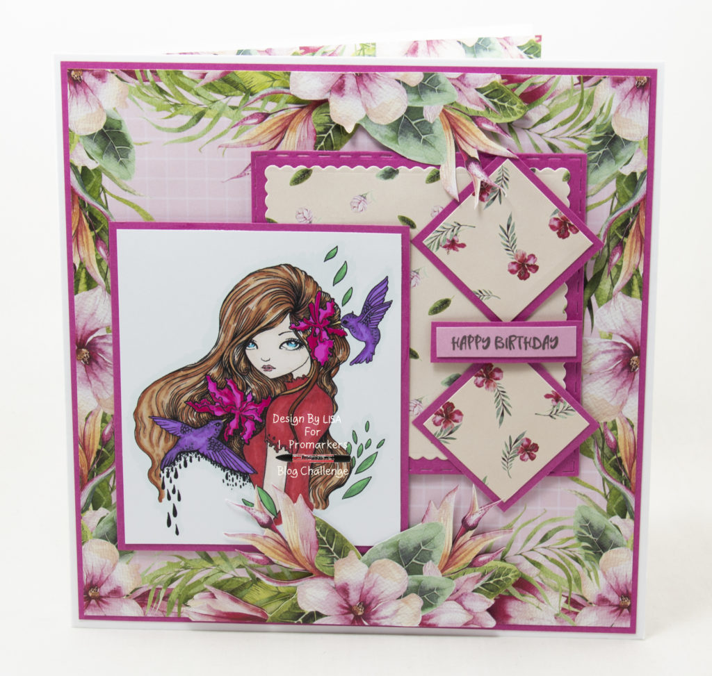 Handmade card using digital image from Ching-Chou Kuik called Humming Birds