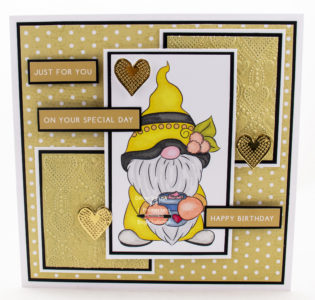 Handmade card using an image from Digi Doodle Studios called Antoni Coffee Gnome