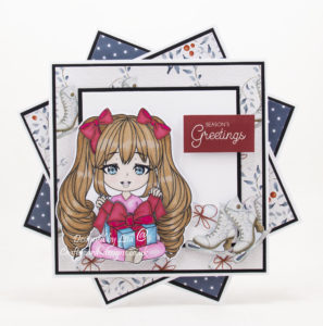 Handmade card using digital image from Stamper's Delight called Chibi Open Gift